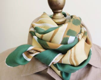 1970s silk scarf, square silk scarf, abstact scarves, green gold, signed silk scarf, hand rolled , retro silk scarf, square headscarf