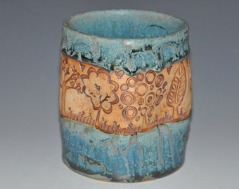 Teal ceramic tumbler cup, with stained texture of trees and birds, fun to hold cup, Holidays gift, housewarming gift