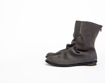 Short Pleated flat boots, Gray Winter shoes, pleated leather boots, pleated gray leather boots