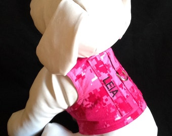 Dog Harness Vest in hot digital pink with your Dogs Name Tab - Size XXS, XS, S, M