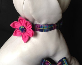 Dog Collar Flower/Bow Tie Set - Pink And Navy Blue Plaid - Size XS, S, M, L, XL