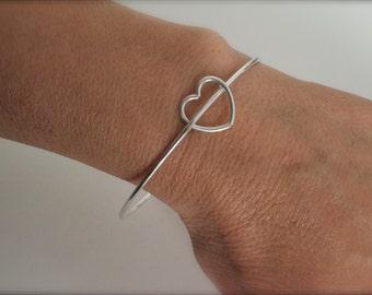 heart bangle bracelet - sterling heart bangle bracelet - 925 solid sterling silver - valentines gift