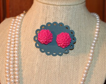 Fuschia Acrylic Dahlia Stud Earrings - floral, flower, vintage, gift, stocking stuffer, costume jewelry, pink