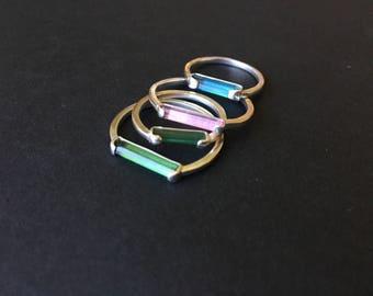Tourmaline Stacking Rings ~ Tourmaline ~ Crystal Rings ~ Crystal Stacking Rings ~ Stacking Rings ~ Gemstone Stacking Rings ~ Stackable Rings