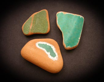 Painted Terracotta Pieces,Solid colors,  Green  Sea Pottery Lot, Textured Beach Pottery, Pendant Sized  Mosaic Pieces