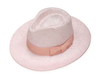 Pink remi straw hat , Classic fedora hat , Straw hat for women , Women summer hats , Straw hat , Sun hat , Beach hat