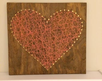 16x16 Stained Wood Heart Shaped Nail Art-Coral and Gold