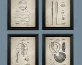 Vintage Baseball Patent Print Set of 4 - Baseball Bat - Baseball Glove - Catchers Mask - Gift for Boy #006