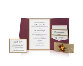 Burlap wedding Invitation -  whimsical wedding invitations - fall rustic wedding Invitation - folder invitation - outdoor wedding