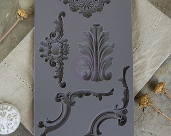 Prima Marketing Baroque No.4 Iron Orchid Designs Vintage Art Decor Mold, Grey