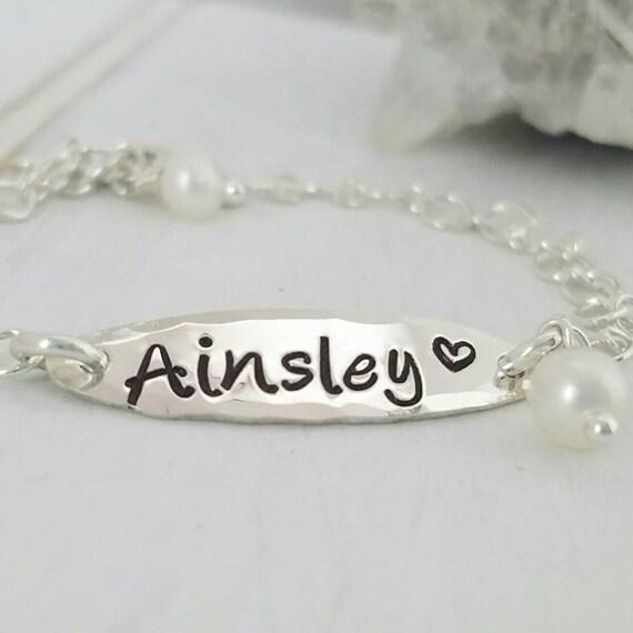 Sterling Baby Bracelet, Sterling silver ID bracelet, Baptism bracelet, Personalized name bracelet, Baby ID Bracelet, Christening bracelet