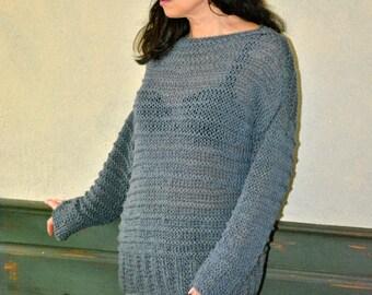 Grey Oversize Pullover, grey Sweater, Boho Sweater, Hipster Sweater, Knitted Sweater, Bohemian Pullover, Oversize Sweater