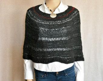 Knitted Capelet, Women Knitwear, Women Poncho, Black Capelet, Rustic Capelet, Hand Knit Capelet, Fall Knitwear, Winter Knitwear,