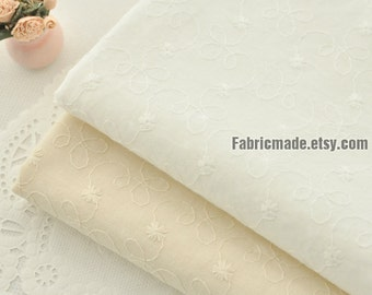 White Ivory Fabric Cloth Curtain Fabric Embroidered Daisy Floral Fabric Embroidery Cotton Fabric - 1/2 yard