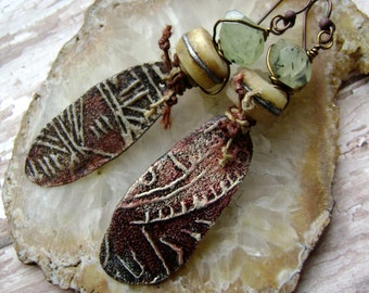 Petroglyph earrings with phrenite, asymmetrical earrings, organic rustic jewelry, assemblage jewelry, unique artisan ceramic, AnvilArtifacts