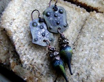mixed metal eco friendly assemblage black spike earrings, textured metal, metalwork earrings, ooak Gothic Boho chic earrings, AnvilArtifacts