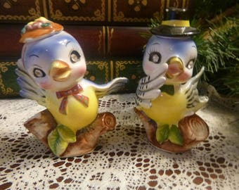 Napco  Mr. & Mrs. BlueBird With Rhinestone Eyes Salt and Pepper Shakers     PERFECT Condition    (T)