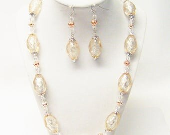 Chunky Cream Oval Faceted Acrylic Beads Necklace & Earrings