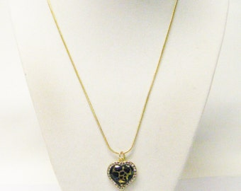 Small Leopard Print Heart on Gold Plate w/Rhinestones Frame Necklace