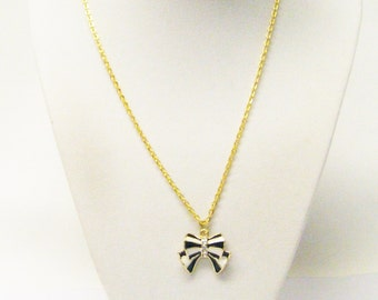 Black/White on Gold Plated Charm Necklace