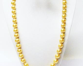"22.5"" Golden Yellow 10mm Glass Pearl Necklace & Earrings Set"