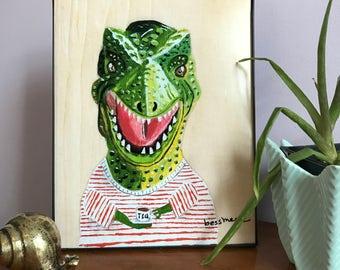 T Rex Art Print | Animal Art | Animals in Clothes | Tyrannosaurus Art | Nursery Art | Dinosaur Art  | Tyronne T Rex Millannial 8x10 PRINT
