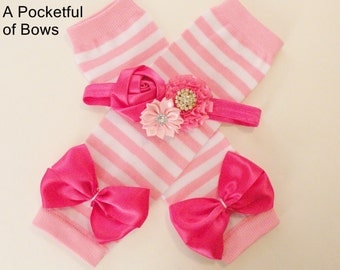 Pink Girls Leg Warmers and Headband Set Toddlers Baby