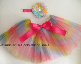 Rainbow Tutu, Toddler Rainbow Tutu, Girls Tutu Skirt and Headband, Toddler Tutu Skirt, Flower Clip, Flower Headband