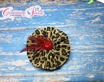 Red, Black Tan Leopard Headband, Leopard Print Hair Accessory, Red Tan Black Clip, Fabric Flower Brooch, Hair Bow, Hair Piece, Baby Headband