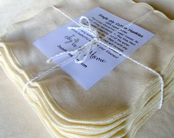 24 single-ply organic cotton hankies - Set of 24 - 7x7 inches - natural color