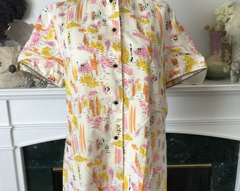 Early 50s novelty Asian Print Cotton Blouse