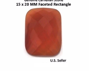 100% Natural Carnelian 15 x 20 MM Faceted Rectangle (Pack of 1)