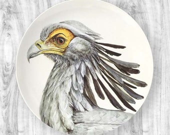 Secretary bird portrait melamine plate