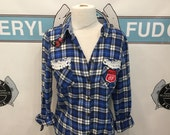 Route 66 Blue and White Flannel