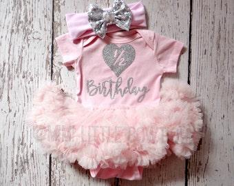 Half Birthday pink and silver tutu dress-pink tutu dress- Silver Glitter- tutu-pink tutu dress- 1/2 birthday outfit-silver and pink birthday