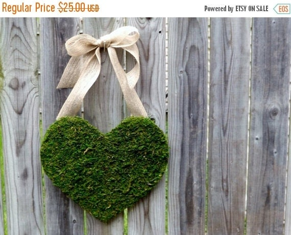ONSALE Moss Covered Wood Heart with Burlap Bow.