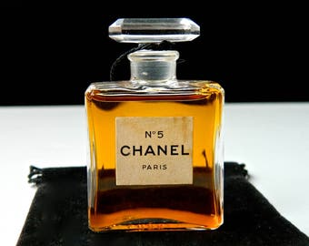 Vintage CHANEL No 5 Pure Perfume .50 oz Early 1950s Crystal Stopper Fabulous Condition Gift Bag
