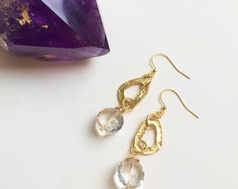 quartz crystal + organic gold shape earrings