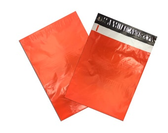 "10"" x 13"" Orange FLAT POLY Mailers, Adhesive Self Sealing Flat Envelope Mailers, Vibrant Colored Mailer Bags (100 Pack)"