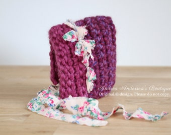 Newborn Baby Girls Crochet Pixie Bonnet Hat with Floral Fabric Ties. Ready to Ship Newborn Photography Prop. UK Seller