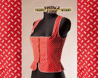 Red Floral Cotton Bodice Corset Dirndl Bodice Top Vest /  Renaissance Medieval Costume bodice corset Top pinafore / size small to medium
