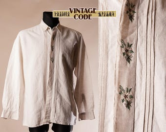 Men's Emobroidered  Linen Trachten shirt  /  Long sleeve folk dirndl  Mens shirt / Austrian German Folk shirt  /  size Medium to Large