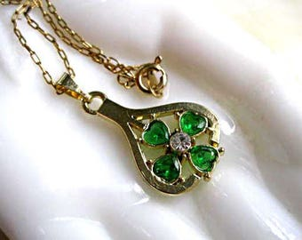 Shamrock Clover Pendant, Green Crystal Hearts Clover in Goldtone, Irish St. Patricks Day Celtic Necklace