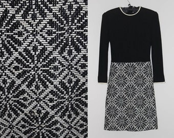 "1960s French Black & Cream Wool Tapestry Dress. B 34"". W 25"". H 24"". Vintage 1960s Color Block Dress with Tapestry Skirt."