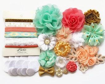 DIY Headband Kit - Gold, Mint, Coral, Peach and White - Makes 10+ headbands! Baby Shower Headband Station - SHK1222