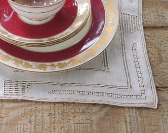 Gorgeous Antique Beige Embroidered Linen Placemats Set of 4 French Country Wedding Cottage Chic Ecru Openwork Mats Vintage Table Mats