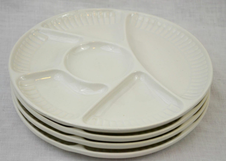 White Divided Dinner Plates California Pottery Set Of 4 Mid