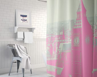 pale pink shower curtain. London fabric shower curtain  Long Shower Curtain pink Pink Etsy