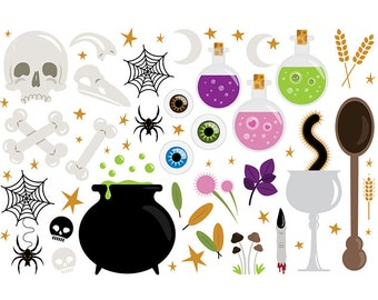 SALE Witches Kitchen Clip Art | Magic Witchcraft Halloween Magic Kitchen Design | Digital Illustration Stock Icons | Personal Commercial Use
