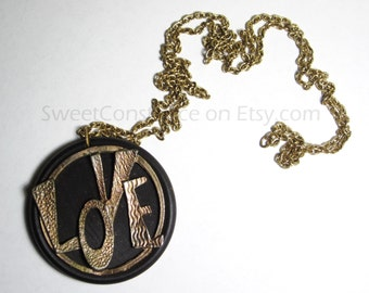 Vintage Festival LOVE Necklace // Love // Wood and Metal Love Necklace //  Old Hippie Wooden Jewelry
